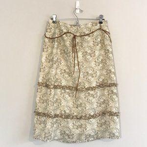 Vintage Paisley Skirt with Brown Suede Belt